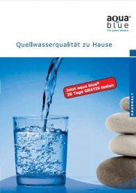 """Titelseite der aqua blue Broschüre """"Quellwasserqualität zu Hause"""""""